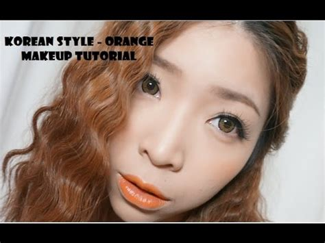 Eyeshadow Orang Korea makeup tutorial korean style orange lipstick