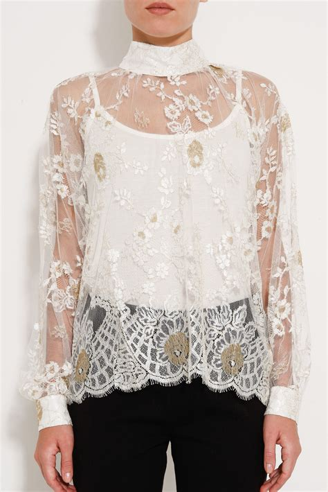 High Neck Lace Top lyst paul joe high neck lace top in white