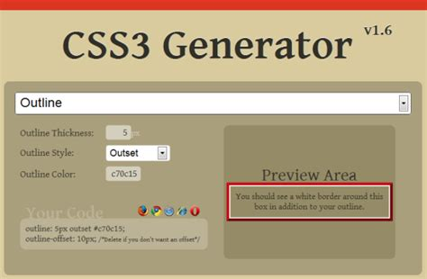 Outline Generator Css by Css3 User Interface Box Outline Offset Goldentwine
