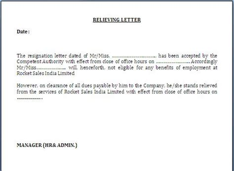 Noc Release Letter Relieving Letter Format For Employee