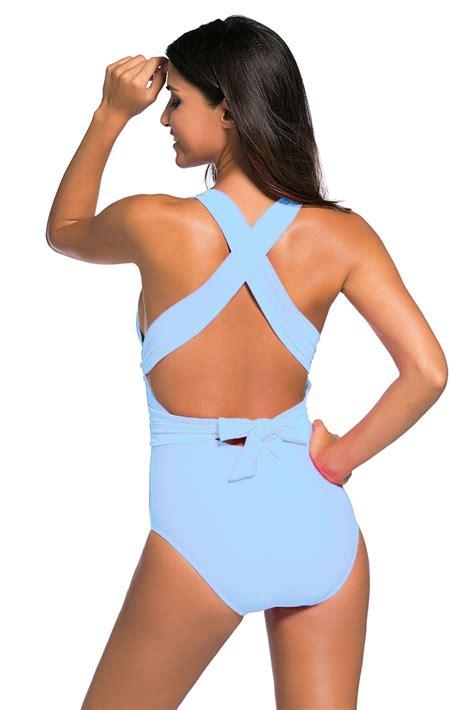 light blue one swimsuit in light blue self tie one swimsuit