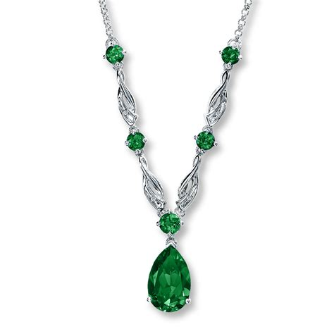 jared lab created emerald necklace with diamonds