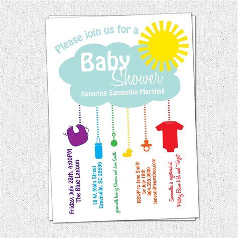 Hourglass Home Decor printable baby shower invitation rain cloud sunshine