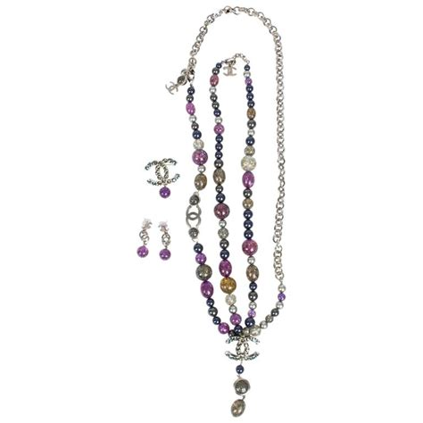 Set Chanell Silver chanel 4 pcs jewelry set silver purple grey for sale at