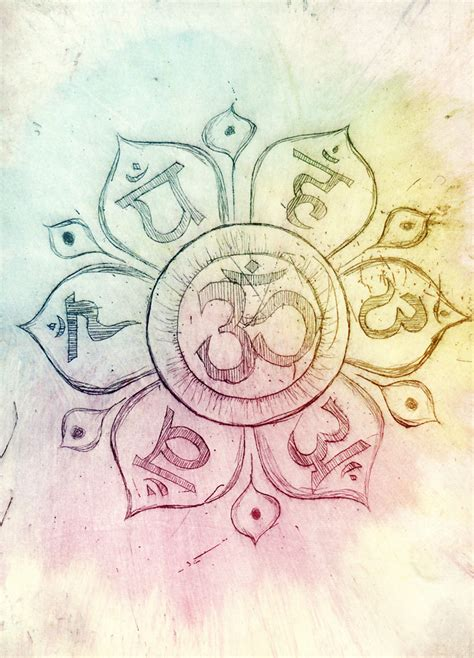 watercolor ohm om and chakras by flincus on deviantart