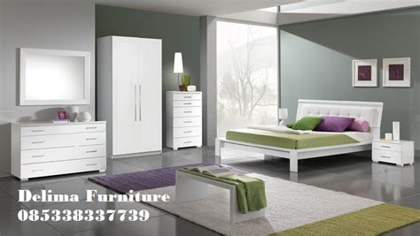set kamar tidur minimalis putih harga murah cvdelima furniture toko mebel terpercaya