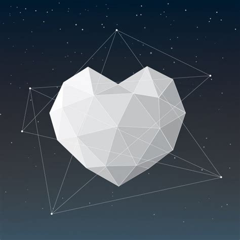 layout editor polygon polygonal heart design vector free download