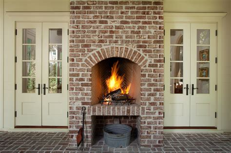 Brick Outdoor Fireplace Patio Mediterranean With Brick