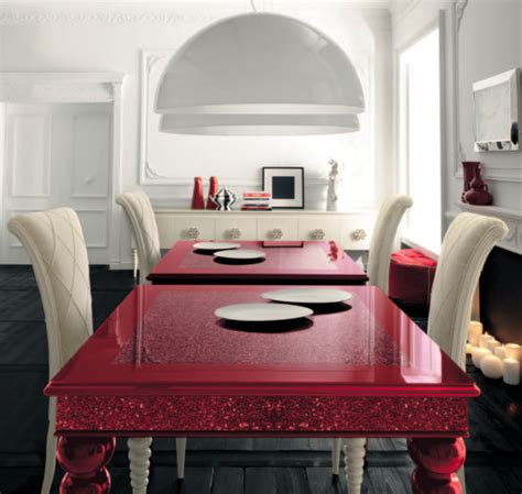 Red Dining Room Table | red dining table with white high backed chairs by altamoda