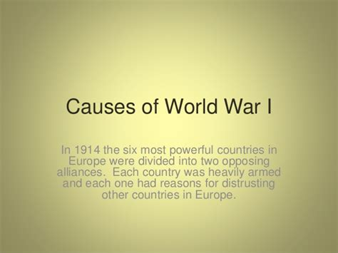Causes And Effects Of World War 1 Essay by Causes And Effects Of World War 1 Essay Prompt