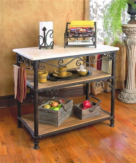 pictured here is the wrought iron siena kitchen island by