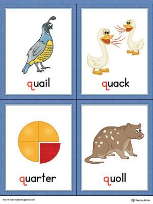 colors that start with q letter q words and pictures printable cards quail quack