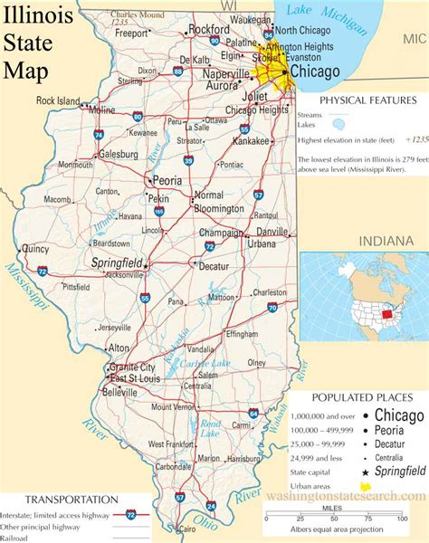 il map illinois state map a large detailed map of illinois state usa