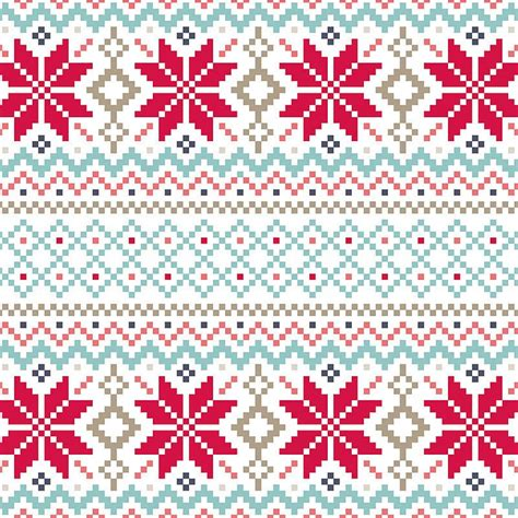 nordic pattern christmas card jule cross stitch