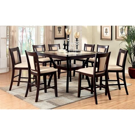 9pc Dining Room Set by Furniture Of America Melott 9 Piece Counter Height Dining