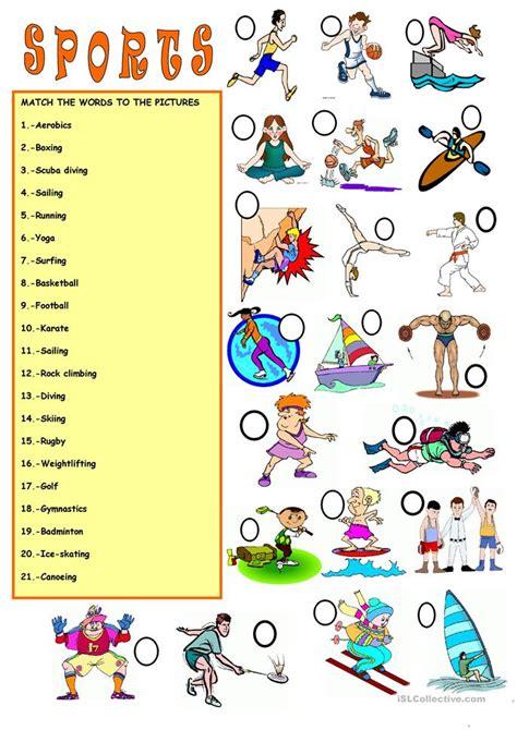 Sports Vocabulary Worksheet vocabulary sports worksheet free esl printable
