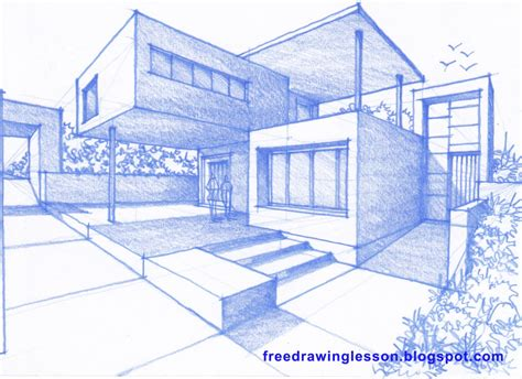 how to draw a big house pencil drawing