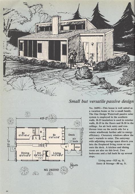 vintage house plans passive solar sunken living room