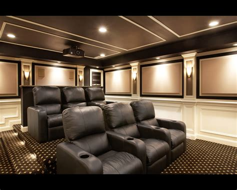 home theater room decor design stupendous room with black sofa on motive carpet under