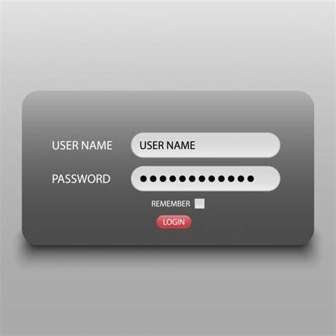 login interface username  password vector premium