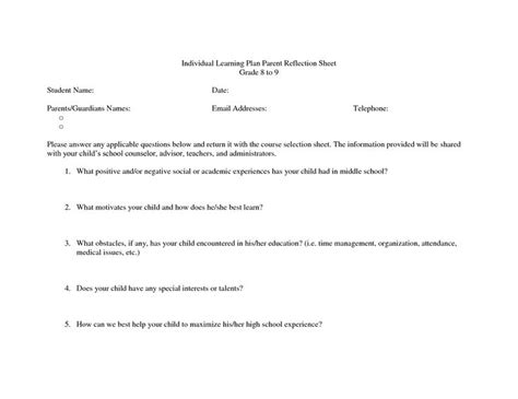 individual student plan template student success plan template individual learning plan