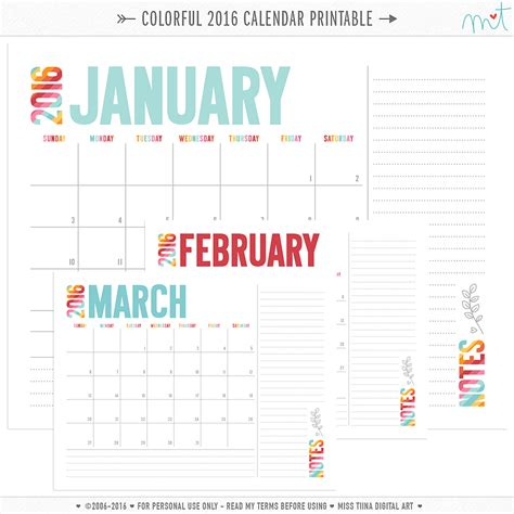 colorful printable weekly planner new 2016 colorful calendars free printables