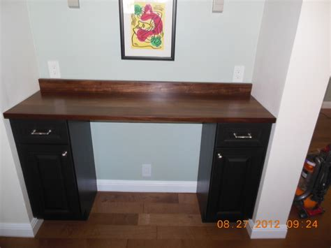 after custom desk with wood countertop by craft