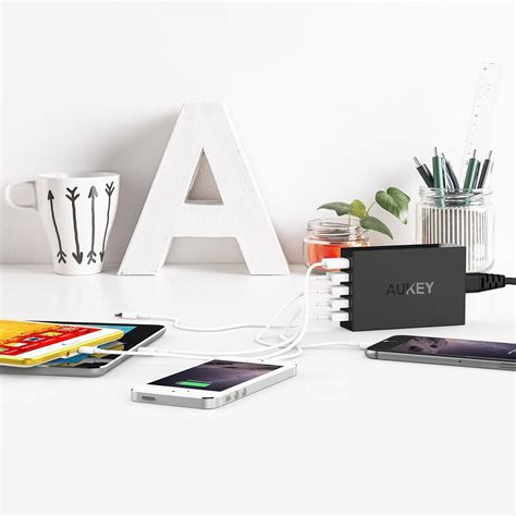Aukey Usb Charging Station 5 Port 54w Pa T15 Hitam aukey pa t15 54w 5 usb port qualcomm certified charge 3 0 usb charging station 11street