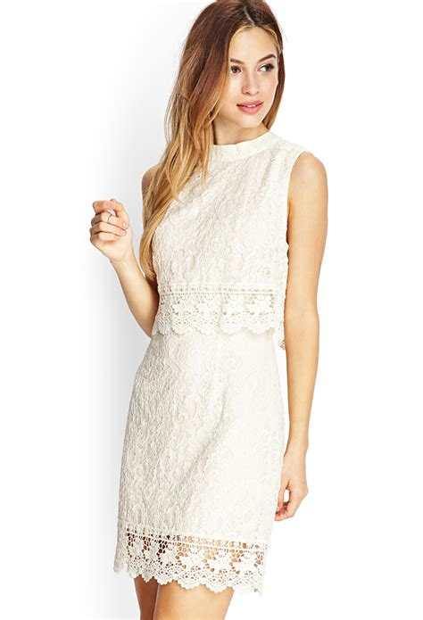 Forever21 Lace Dress forever 21 crochet lace flounce dress in beige lyst