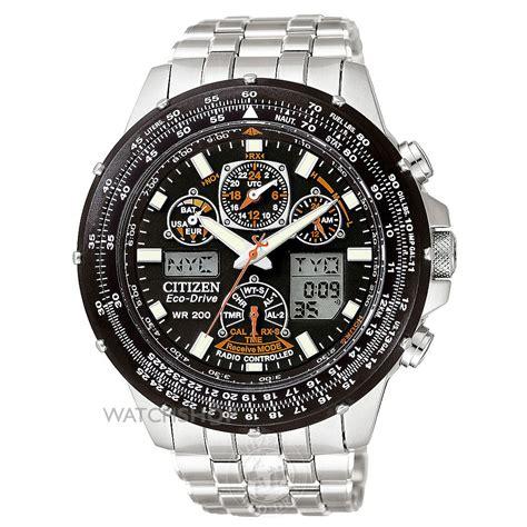 Men's Citizen Skyhawk A T Alarm Chronograph Radio Controlled Eco Drive Watch (JY0000 53E