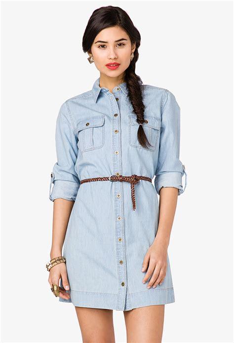 forever 21 denim shirt dress with belt in blue lyst