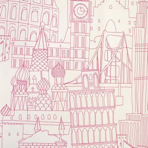 globetrotter wallpaper pink  clarke clarke
