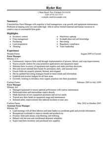 Farm Manager Sle Resume by Farmer Resume Exles Agriculture Environment Resume Sles Livecareer