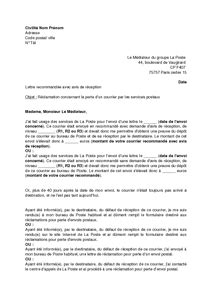 Exemple De Lettre Recommandée lettre de r 233 clamation aupr 232 s du m 233 diateur de la poste pour