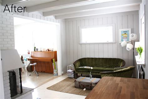 paint wood paneling white before after striped bedroom airy living room