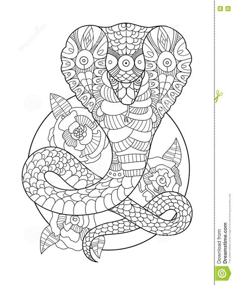 cobra snake coloring book for adults vector stock vector