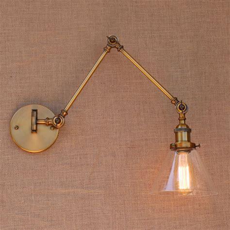 wandleuchte bad vintage glass brass adjustable arm wall light vintage edison