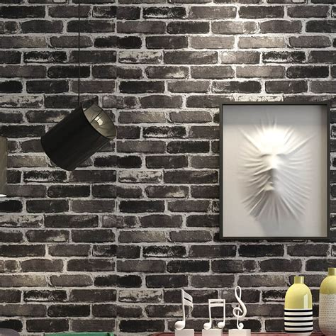 brick feature wall grey brick wallpaper