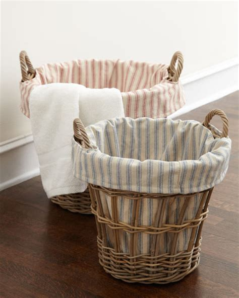 wicker laundry with liner laundry home wicker laundry baskets with ticking