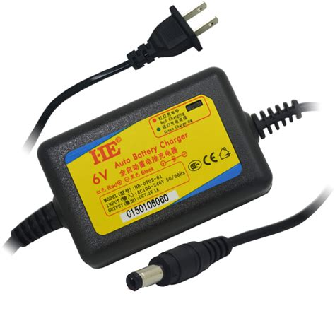 6v 12ah battery charger he dc 5 5mm 6v smart auto adapter rechargeable lead acid