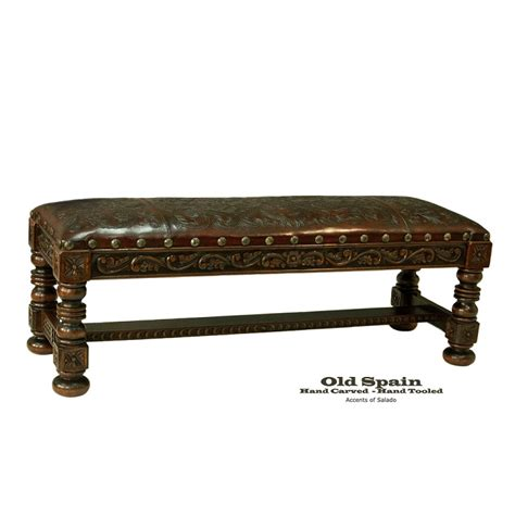 old bench old spain leather bench