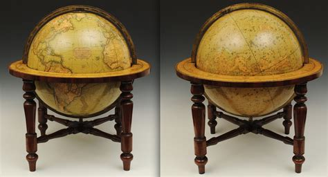 large table globes on mahogany stands fleaglass