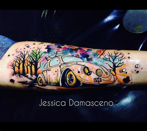 vw beetle tattoo designs vw beetle space clouds on forearm best