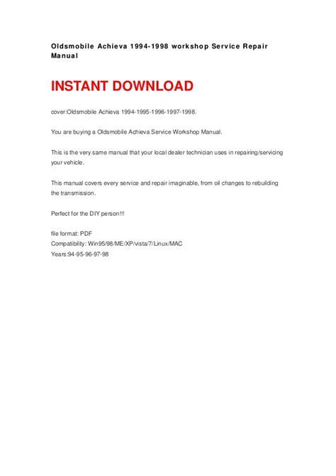 1996 oldsmobile achieva repair manual online oldsmobile achieva 1994 1998 manual