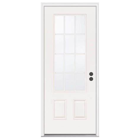 12 Lite Exterior Door Jeld Wen 33 438 In X 81 75 In 12 Lite Primed Steel Prehung Left Front Door W Brickmould