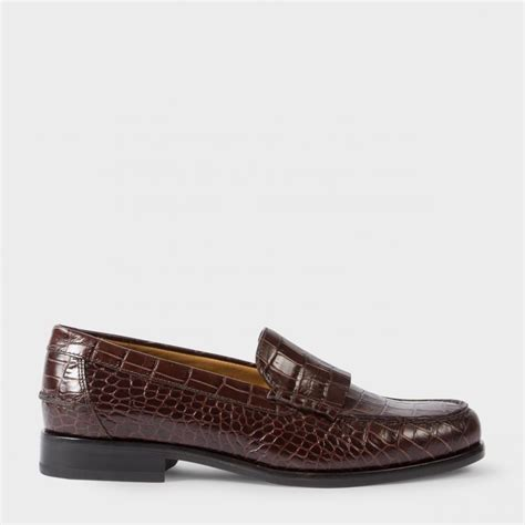 brown womens loafers paul smith s brown mock croc leather lennox