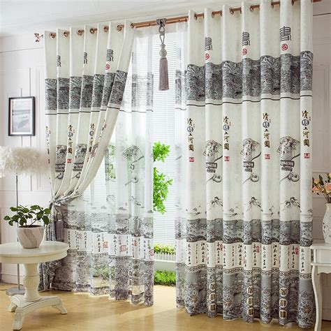 chinese curtain elegant white polyester chinese style living room curtains