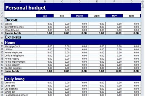 home budget plan excel personal income and expenditure template download