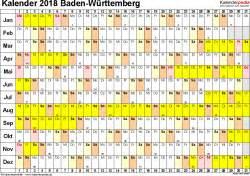 Kalender 2018 Schulferien Bw Kalender 2018 Baden W 252 Rttemberg Ferien Feiertage Excel
