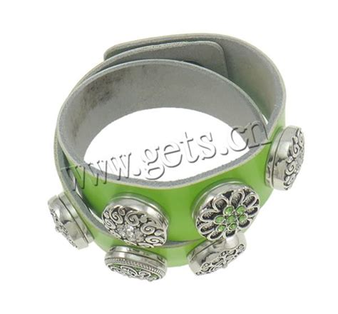 cowhide bracelets zinc alloy snap clasp platinum color plated with rhinestone nickel lead